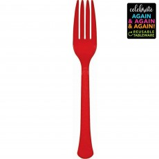 Red Party Supplies - Forks Premium Extra Heavy Weight Apple Red
