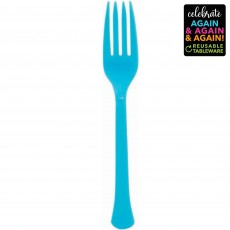 Blue Party Supplies - Forks Premium Extra Heavy Weight Caribbean Blue