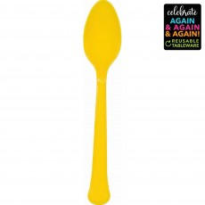 Yellow Party Supplies - Spoons Premium Extra Heavy Weight Sunshine Yellow