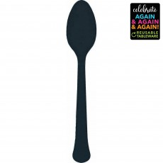 Black Party Supplies - Spoons Premium Extra Heavy Weight