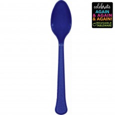 Blue Party Supplies - Spoons Premium Extra Heavy Weight Bright Royal Blue