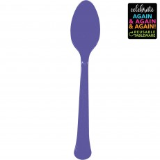 Purple Party Supplies - Spoons Premium Extra Heavy Weight New Purple