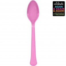 Pink Party Supplies - Spoons Premium Extra Heavy Weight New Pink