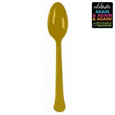 Gold Party Supplies - Spoons Premium Extra Heavy Weight