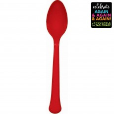 Red Party Supplies - Spoons Premium Extra Heavy Weight Apple Red
