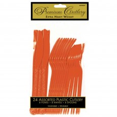 Orange Heavy Weight Cutlery Sets Pack of 24