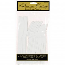 Frosty White Premium Heavy Weight Plastic Cutlery Sets Pack of 24