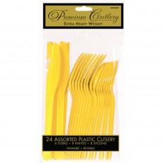 Sunshine Yellow Premium Heavy Weight Plastic Cutlery Sets Pack of 24