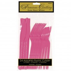 Bright Pink Premium Heavy Weight Plastic Cutlery Sets Pack of 24
