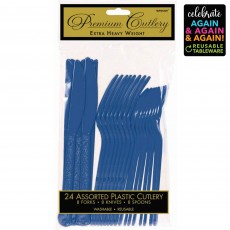 Blue Party Supplies - Cutlery Sets Premium Extra Heavy Weight Bright Royal Blue