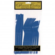 Bright Royal Blue Premium Heavy Weight Plastic Cutlery Sets Pack of 24