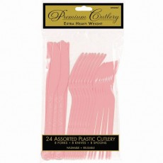 New Pink Premium Heavy Weight Plastic Cutlery Sets Pack of 24