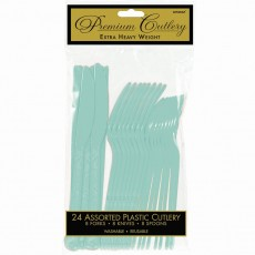 Robin's Egg Blue Premium Heavy Weight Plastic Cutlery Sets Pack of 24