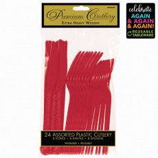 Red Party Supplies - Cutlery Sets Premium Extra Heavy Weight Apple Red