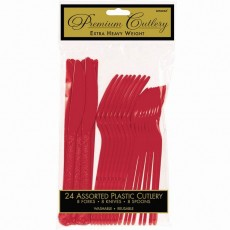 Apple Red Premium Heavy Weight Plastic Cutlery Sets Pack of 24