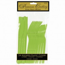 Kiwi Green Premium Heavy Weight Plastic Cutlery Sets Pack of 24