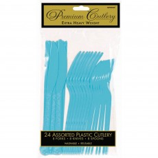 Caribbean Blue Premium Heavy Weight Plastic Cutlery Sets Pack of 24