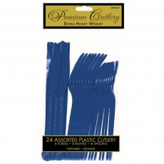 Navy Flag Blue Heavy Weight Cutlery Sets Pack of 24