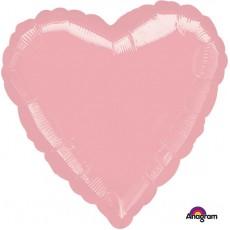 Heart Metallic Pearl Pastel Pink Standard HX Shaped Balloon 45cm