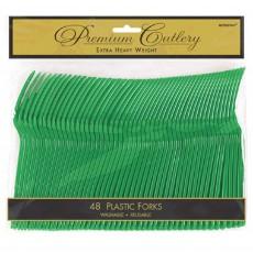 Festive Green Premium Heavy Duty Plastic Forks Pack of 48