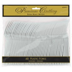 Silver Premium Heavy Weight Plastic Forks Pack of 48