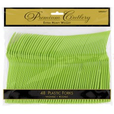 Kiwi Green Premium Heavy Weight Plastic Forks Pack of 48