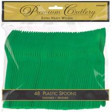 Festive Green Premium Heavy Duty Plastic Spoons Pack of 48