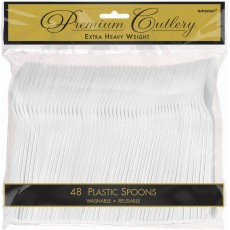 Frosty White Premium Heavy Weight Plastic Spoons Pack of 48
