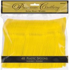 Sunshine Yellow Premium Heavy Weight Plastic Spoons Pack of 48