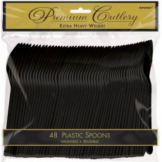 Jet Black Premium Heavy Weight Plastic Spoons Pack of 48