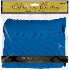 Blue Bright Royal Premium Heavy Weight Plastic Spoons