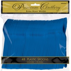 Bright Royal Blue Premium Heavy Weight Plastic Spoons Pack of 48
