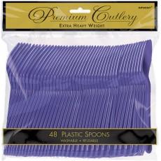 New Purple Premium Heavy Weight Plastic Spoons Pack of 48