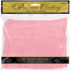New Pink Premium Heavy Weight Plastic Spoons Pack of 48