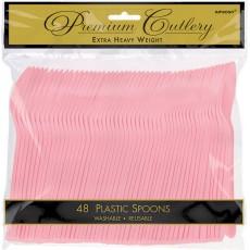 Pink New Premium Heavy Weight Plastic Spoons