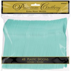 Robin's Egg Blue Premium Heavy Weight Plastic Spoons Pack of 48