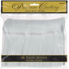 Silver Premium Heavy Weight Plastic Spoons Pack of 48