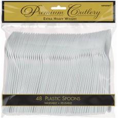 Silver Premium Heavy Weight Plastic Spoons