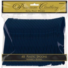 Navy Blue Heavy Weight Spoons Pack of 48