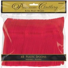 Apple Red Premium Heavy Weight Plastic Spoons Pack of 48