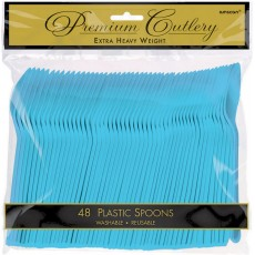 Blue Caribbean Premium Heavy Weight Plastic Spoons