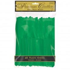 Festive Green Premium Heavy Duty Plastic Knives Pack of 48