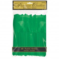 Green Festive Premium Heavy Duty Plastic Knives
