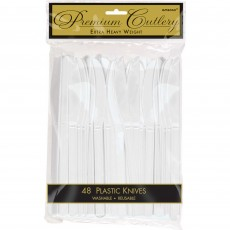 White Frosty Premium Heavy Weight Plastic Knives