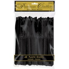 Jet Black Premium Heavy Weight Plastic Knives Pack of 48
