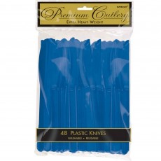 Bright Royal Blue Premium Heavy Weight Plastic Knives Pack of 48