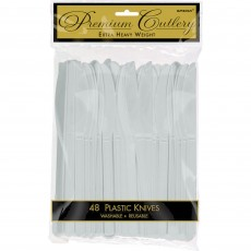 Silver Premium Heavy Weight Plastic Knives Pack of 48