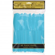 Caribbean Blue Premium Heavy Weight Plastic Knives Pack of 48