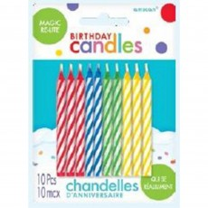 Stripes Party Supplies - Candles Magic ReLight