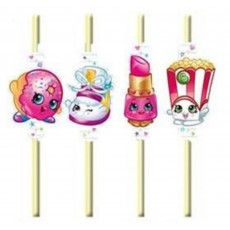 Shopkins Plastic Flexible with Medallions Straws